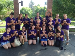 This is my orientation group last year.  They named our group Sewey-1-1 and made a group sign!