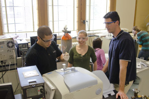 Stephen Tajc chemistry professor leads a student research team