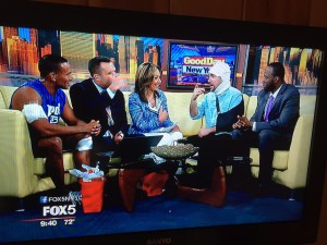 Greg, appearing in character with Peter Rosenberg, on Fox 5's Good Day New York.
